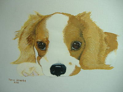 Poster featuring the painting Lovable Puppy by Norm Starks
