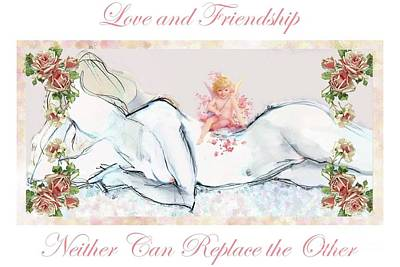 Poster featuring the mixed media Love And Friendship - Valentine Card by Carolyn Weltman