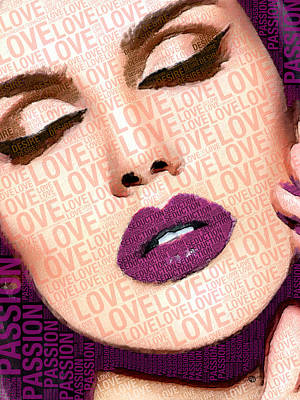 Love And Passion Portrait Of A Woman With Words Purple Poster by Tony Rubino