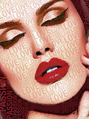 Love And Passion Portrait Of A Woman With Words Red Poster by Tony Rubino