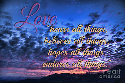 Love Bears All Things - Digital Painting Poster by Sharon Soberon