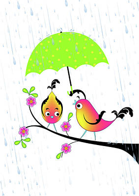 Love Birds In Rain Poster