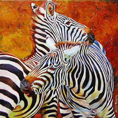 Love Bite  Zebras Poster by Kelly McNeil