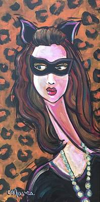 Poster featuring the painting Love For Cat Woman  by Laurie Maves ART