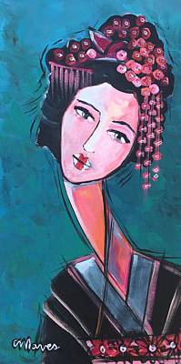 Poster featuring the painting Love For Geisha Girl by Laurie Maves ART
