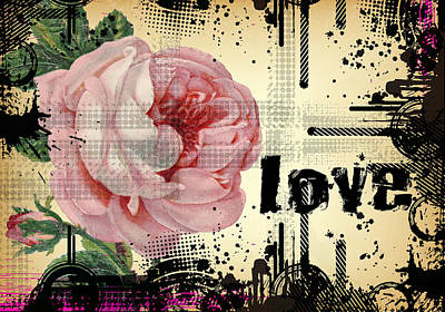Poster featuring the digital art Love Grunge Rose by Robert G Kernodle