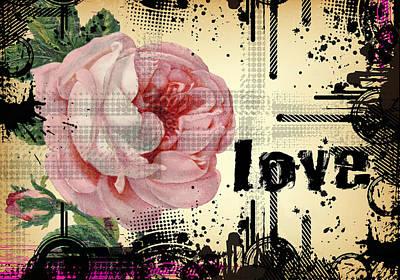 Love Grunge Rose Poster