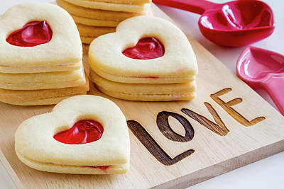 Poster featuring the photograph Love Heart Cookies by Teri Virbickis