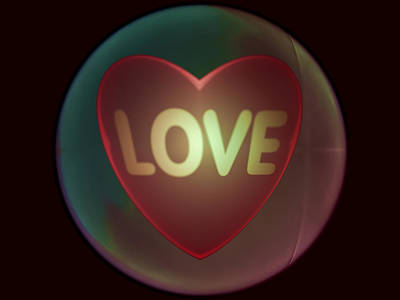 Love Heart Inside A Bakelite Round Package Poster