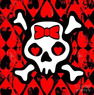 Love Heart Skull Poster