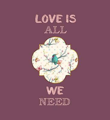 Poster featuring the digital art Love Is All We Need Typography Hummingbird And Butterflies by Georgeta Blanaru
