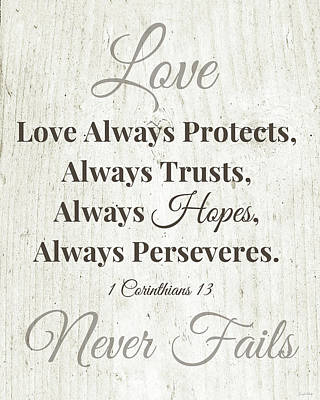 Love Never Fails- Art By Linda Woods Poster by Linda Woods