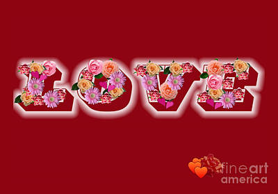 Love On Red With Flowers Poster