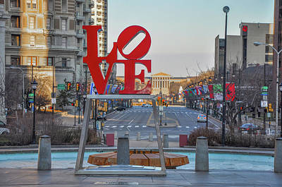 Love Overlooking Benjamin Franklin Parkway Poster by Bill Cannon