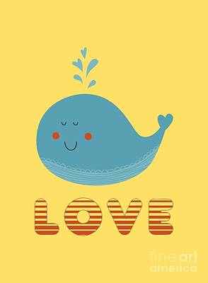 Love Whale Cute Animals Poster by Edward Fielding