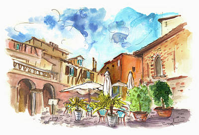 Lovely Street Cafe In Albi Poster by Miki De Goodaboom