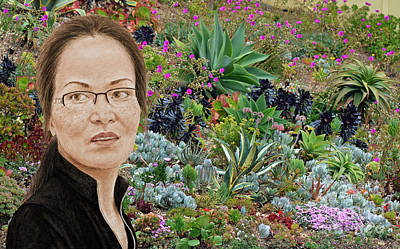 Lovely Vietnamese Woman With Glasses And Freckles In A Beautiful Garden Poster by Jim Fitzpatrick