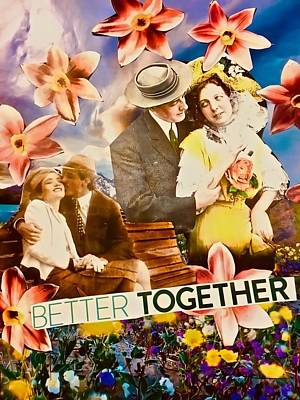 Poster featuring the mixed media Lovers Together by Joan Reese