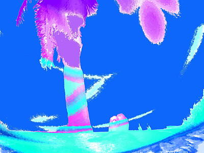 Lovers Under A Palm Tree Silhouette 2 Poster by Abstract Angel Artist Stephen K