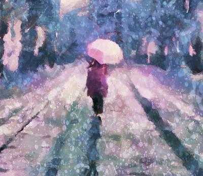 Loving The Rain Poster by Georgiana Romanovna