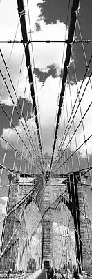 Low Angle View Of A Bridge, Brooklyn Bridge, Manhattan, New York City, New York State, Usa Poster by Panoramic Images