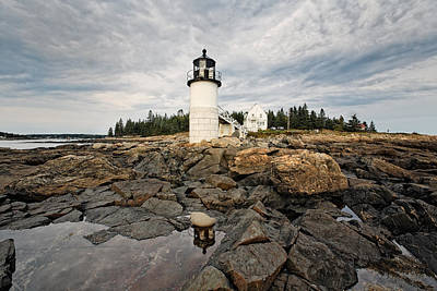 Low Angle View Of The Marshall Point Lighthouse Maine Poster by George Oze
