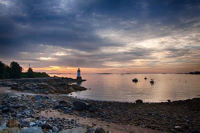 Low Tide At Salem's Lighthouse Poster by Jeff Folger