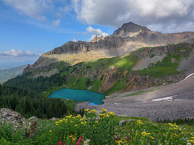 Poster featuring the photograph Lower Blue Lake And Mt. Sneffels by Aaron Spong