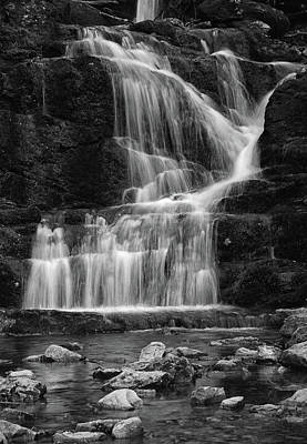 Lower Buttermilk Falls In Black And White Poster by Raymond Salani III