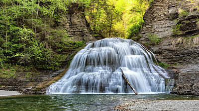 Lower Falls At Treman State Park Poster by Stephen Stookey