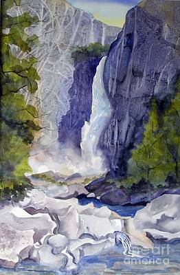 Poster featuring the painting Lower Falls by Pat Crowther