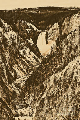 Lower Falls Viewed From Artist Point Yellowstone National Park Wyoming Rustic Digital Art Poster