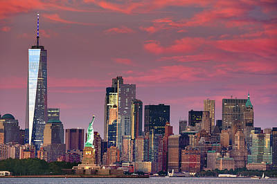 Poster featuring the photograph Lower Manhattan In Pink by Emmanuel Panagiotakis