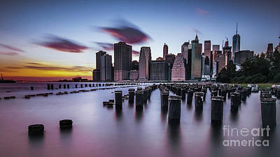 Lower Manhattan Purple Sunset Poster