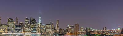 Lower Manhattan Skyline Nightscape Poster