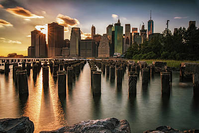 Lower Manhattan Sunset Twinkle Poster