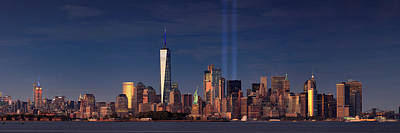 Poster featuring the photograph Lower Manhattantribute In Light by Emmanuel Panagiotakis