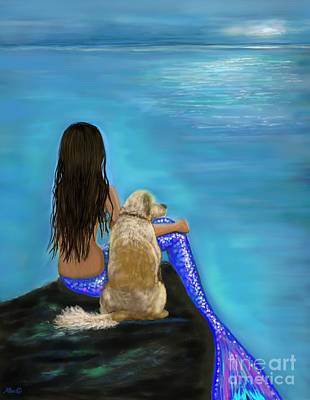 Poster featuring the painting Loyal Loving Buddy by Leslie Allen