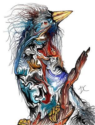 Poster featuring the digital art Lsd Bird by Darren Cannell