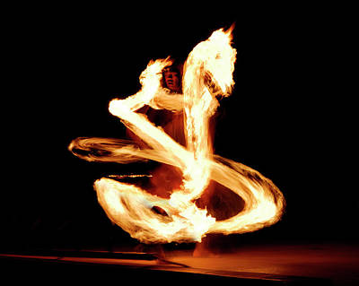 Luau Fire Dancer At Night With A Flaming Dragon Poster by Reimar Gaertner