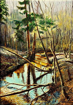 Poster featuring the painting  Lubianka-1- River by Henryk Gorecki