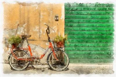 Lucca Italy Bike Watercolor Poster by Edward Fielding