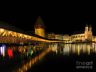 Lucerne Night Beauty II - Painting Poster