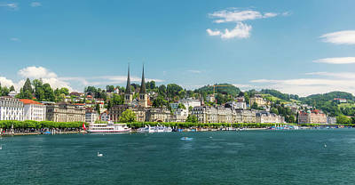 Poster featuring the photograph Lucerne Panorama by Wolfgang Vogt