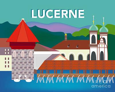 Lucerne Switzerland Horizontal Scene Poster by Karen Young