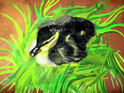 Poster featuring the painting Lucky Duckling by Rebecca Wood