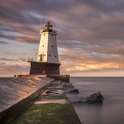 Ludington North Breakwater Light At Dawn Poster by Adam Romanowicz