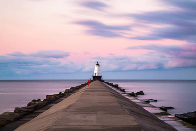 Poster featuring the photograph Ludington North Breakwater Light Sunrise by Adam Romanowicz