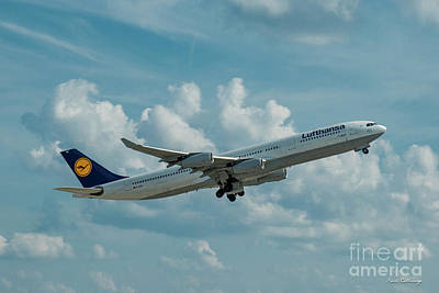 Lufthansa Airlines A Departure Airbus 340-300 D-aigo Airport Art Poster
