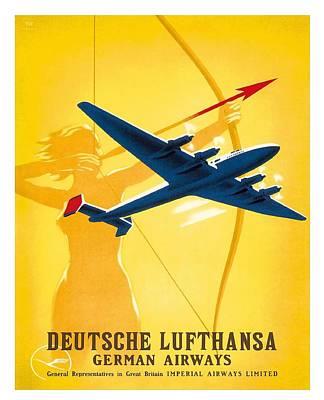 Lufthansa German Airways Archer Vintage Travel Poster By Willy Hanke Poster
